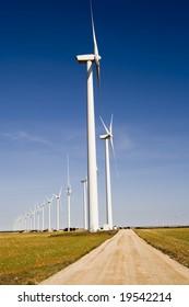 Wind turbines field.