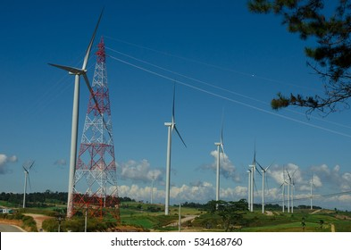 wind turbines field for generate electricity