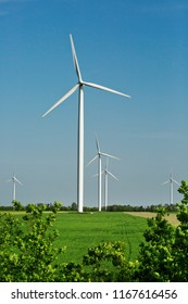 Wind turbines in the field, industrial outdoor theme