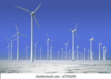 Wind turbines in frozen water, offshore park for energy