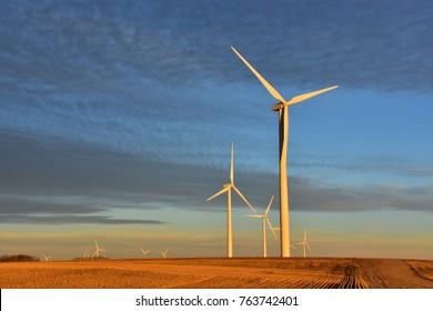 Wind turbines generating clean renewable energy in North Dakota.