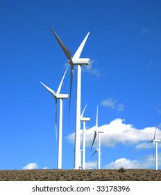 Wind Turbines generating electricity from a blustery ridge in central Washington.