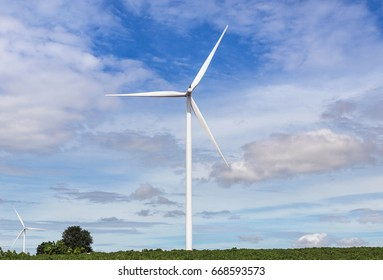 wind turbines generating electricity in wind energy station