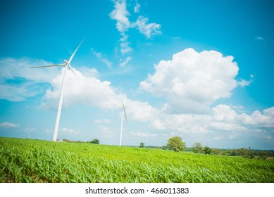 Wind turbines generating electricity, in nakhonratchasima city at thailand