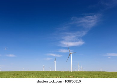 wind turbines generating electricity on the steppe in inner mongolia
