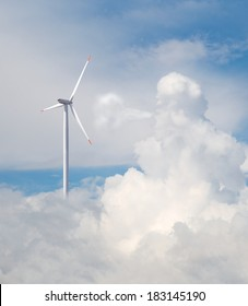 Wind turbines generating electricity (the cloud blows the winds)
