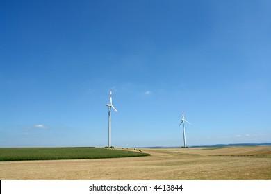Wind turbines generating healthy environmentally green energy