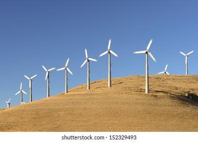 Wind turbines in the golden hills of California