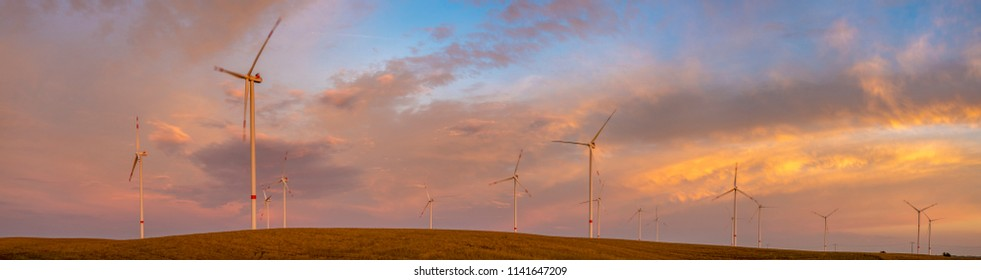 Wind turbines in golden sunset,panorama