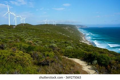 Wind turbines, Great Southern Ocean, WA, Australia.