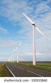 Wind turbines in Holland at the Eemmeerdijk in Zeewolde