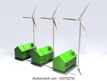 Wind turbines homes clean energy