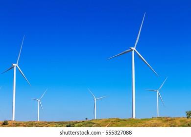 wind turbines in the khao kho park, Thailand.