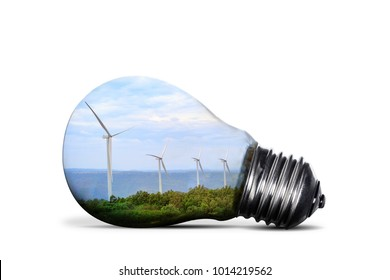 Wind turbines in light bulb.Green energy and Idea concept. isolated on white background with clipping path