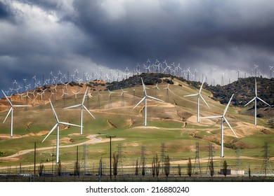 Wind Turbines line the hillsides outside Bakersfield, California.