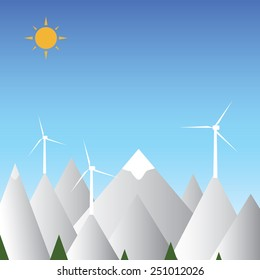 Wind turbines and mountain