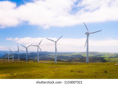 Wind turbines in the mountains. Renewable Energy. Galicia, Spain.