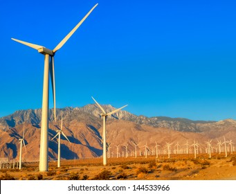 Wind turbines near Palm Springs, at sunrise.