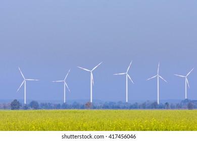 Wind turbines near Schwerin, Mecklenburg-Western Pomerania, Germany, Europe