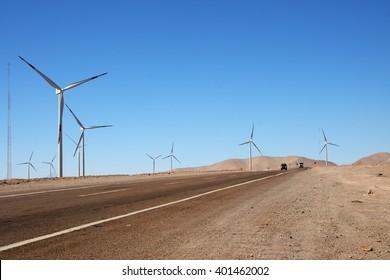 Wind Turbines next to the Road, Calama, Atacama desert, Chile