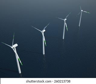 Wind turbines in the ocean. 3d illustration high resolution