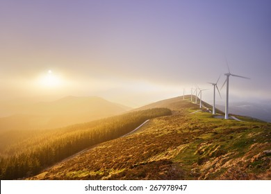wind turbines in Oiz eolic park. Basque Country