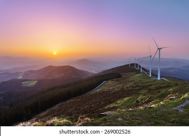 wind turbines in Oiz eolic park at sunset