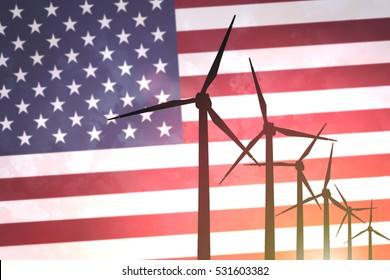 Wind turbines on the background of the flag USA United States America