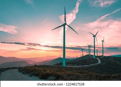 Wind turbines on beautiful sunny summer purple autumn mountain landsape. Curvy road through mountain Eolic park. Green ecological power energy generation. Wind farm eco field