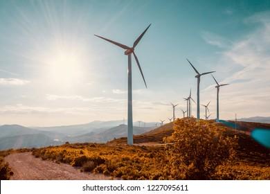 Windturbinen auf der schönen sonnigen Herbstlandschaft. Kurven Straße durch den Berg Eolic Park. Ökologische Stromerzeugung aus umweltfreundlicher Energie. Öko-Feld für Windparks