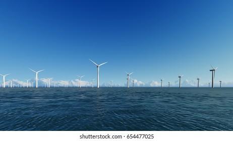 Wind Turbines on blue sea 3D render