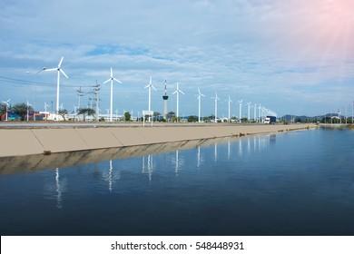 Wind turbines on blue sky / selective focus.