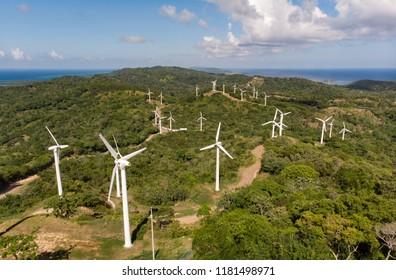 Wind Turbines on Caribbean Island
