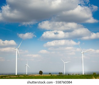 Wind Turbines  on a Cloudy Day ,Ecological energy composition
