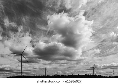 Wind turbines on a cloudy day
