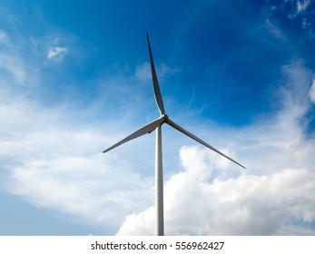 Wind Turbines  on a Cloudy Day,Ecological energy composition