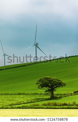 Wind turbines on Dartmoor National Park, Devon, United Kingdom