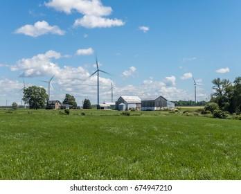 Wind turbines on the farm