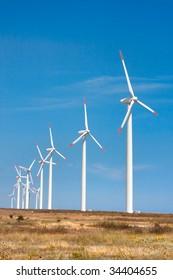 Wind turbines on a field in Bulgaria