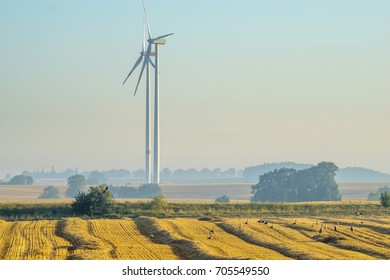 Wind turbines on a field in summer