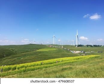 Wind turbines on the grassland, Zhangjiakou City, China