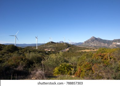 Wind turbines on the green hills of Andalusia