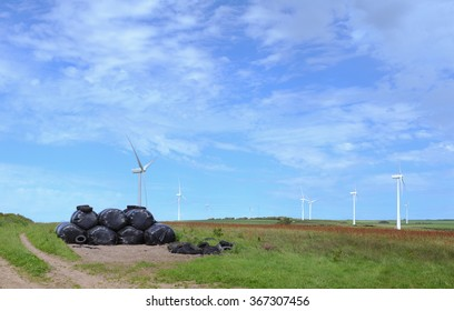 Wind Turbines on the Hills above Barnstaple at Fullabrook on the Coast of North Devon, England, UK