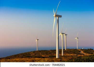 Wind Turbines on the island of Crete, Greece