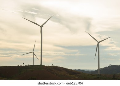 Wind turbines on the mountain, at Countryside