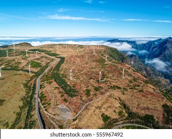 Wind Turbines on the Mountain Madeira Island, aerial view