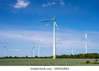 Wind turbines on a sunny day seen in Germany