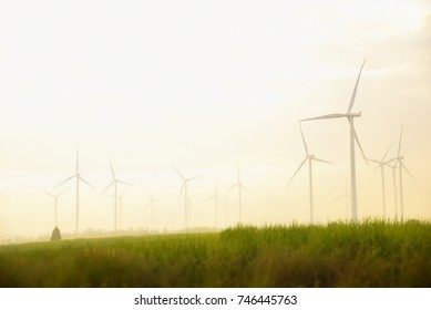 Wind turbines on sunny morning ,sustainable and clean electric power,Future of renewable energy.THAILAND