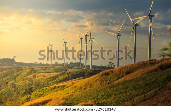 Windturbinen am sonnigen Morgen