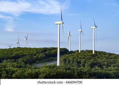 Wind turbines on top of a hill in West Virginia
